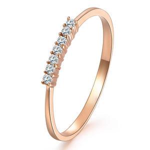 菲钻 简爱排戒 [简·时光]18k玫瑰金钻石戒指 排戒 叠戴钻戒