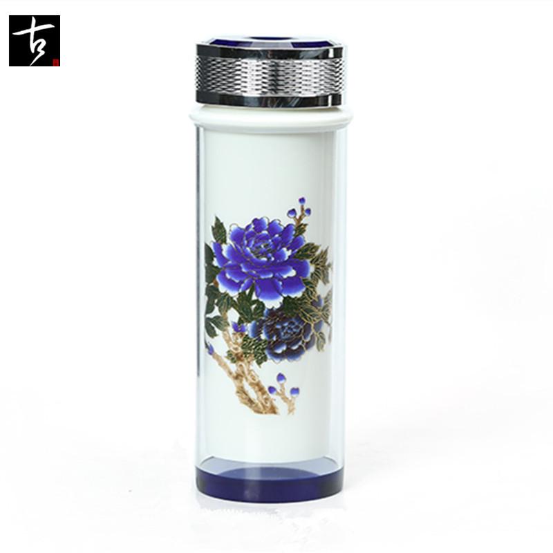 高档陶瓷双层隔热玻璃水杯 商务办公杯 陶瓷内胆变色保温杯 包邮