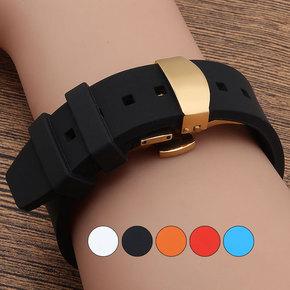 硅胶橡胶防水运动表带 薄款 适配卡西欧天美时天梭西铁城男女手表
