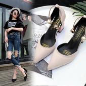 百搭绒面尖头一字扣包头粗跟凉鞋 女中空性感高跟鞋 2017夏新款 韩版图片