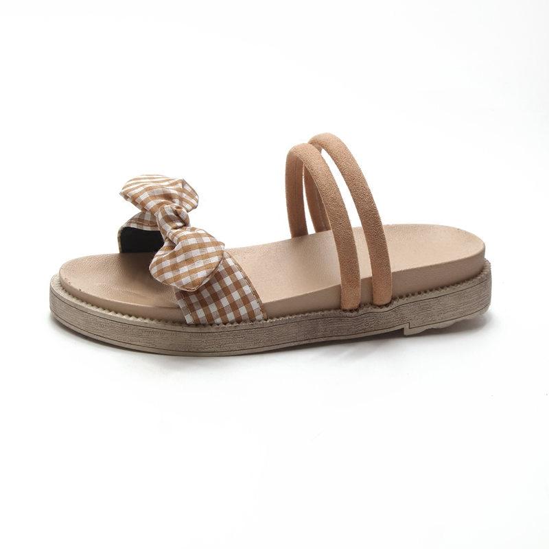 凉鞋女夏2018新款韩版蝴蝶结两穿沙滩凉拖平底森女风复古学生女鞋