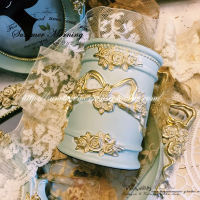 LACESHABBY Europe imported retro French Rococo embossed bow resin resin barrel storage barrel blue gray