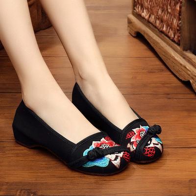 北京老布鞋女单鞋民族风秋季新款内增高扣带黑色船鞋绣花鞋单鞋子