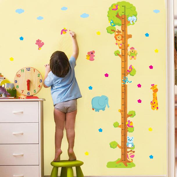 可移除墙贴儿童房客厅卡通宝宝量身高尺墙面装饰贴画动物身高贴纸