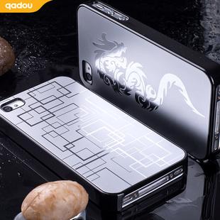 苹果手机s手机4s保护外壳黑色日韩金属iphone4s格纹金色护套银色