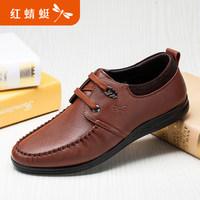 红蜻蜓男鞋 正品真皮透气男士软面系带皮鞋驾车鞋子 男 休闲鞋