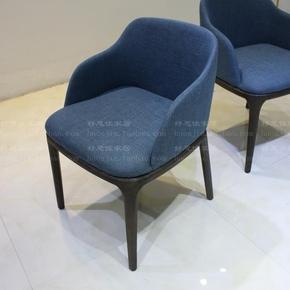 现代餐椅时尚简约餐桌椅子餐厅靠背椅家具酒店餐椅布皮椅有手椅01