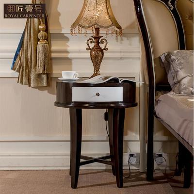 御匠壹号 后现代实木咖啡色香槟银床头灯台 奢华卧室床头柜 现货