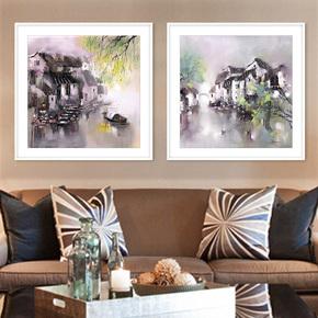 江南水乡风景画 中式客厅山水装饰画书房写意水墨画 实木画框双联