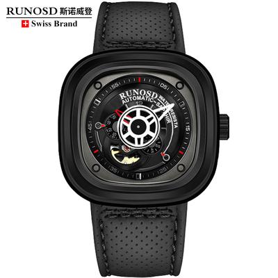 瑞士正品斯诺威登男士全自动机械表镂空防水大表盘真皮带方形手表年中大促