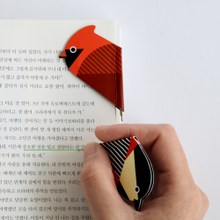 Korea bookfriends magnetic bookmark creative stationery cute birds Mini ball pen 0.8mm green