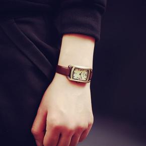 韩版复古简约皮带小方形方盘女表小表盘方型时装石英手表生日礼物