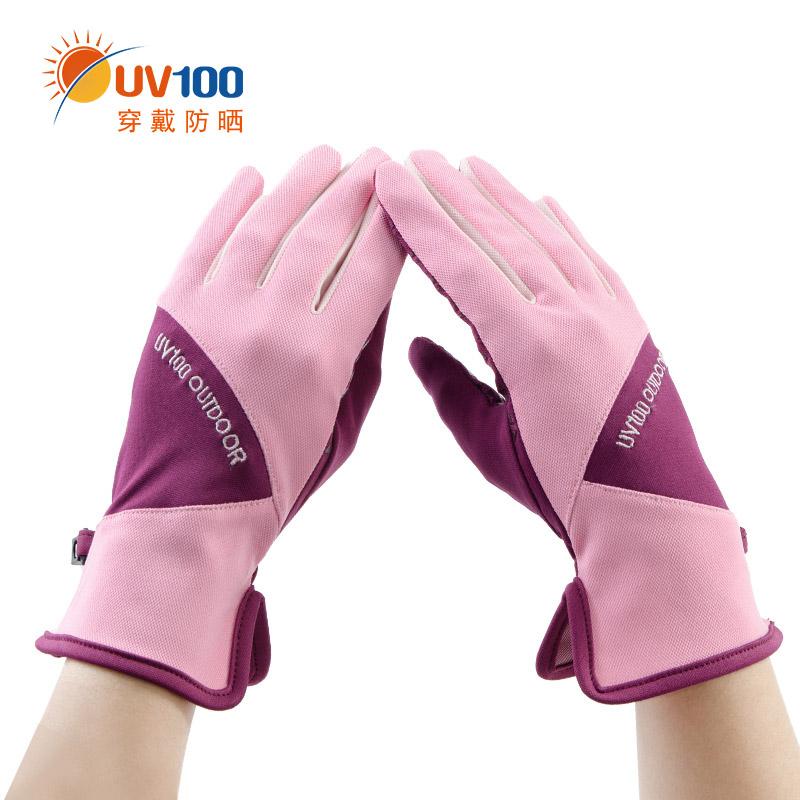 台湾UV100骑行防晒手套女夏季防紫外线凉感防滑撞色触控手套61343