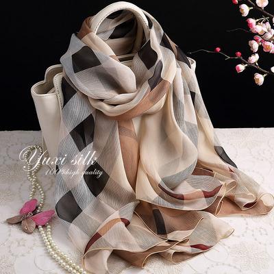 咖色格子100%桑蚕丝长款真丝丝巾披肩女士纱巾春秋冬夏季丝绸围巾