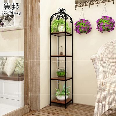 欧式铁艺花架客厅阳台实木多层落地式花几绿萝吊兰盆景架植物架