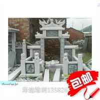 Stone granite snow white series large combination family tombstone lion fence censer ornaments factory direct sales