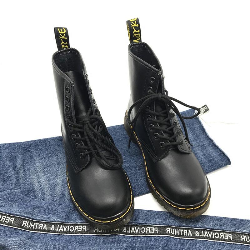欧美新款马丁靴女高帮系带短靴女平底单靴机车骑士短筒百搭靴子潮