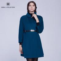 斯尔丽瑟俪新款女装宽松简约中长款双面呢羊毛呢子大衣毛呢外套
