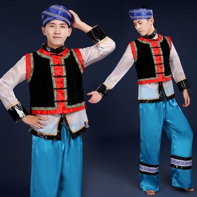 苗族舞蹈演出服秧歌服成人少数民族服表演服装壮族黎族土家族男装