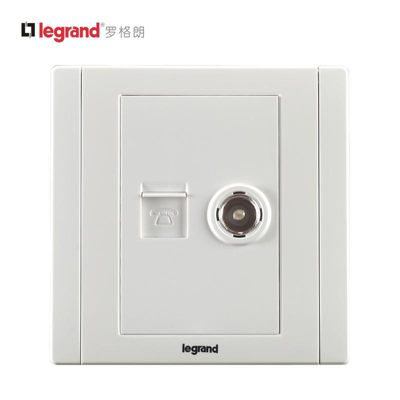 罗格朗开关插座面板美涵雅白电话电视插座墙壁开关插座有线语音插