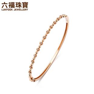 六福珠宝18K金钻石手镯圆珠小花窄款细手镯女款26565