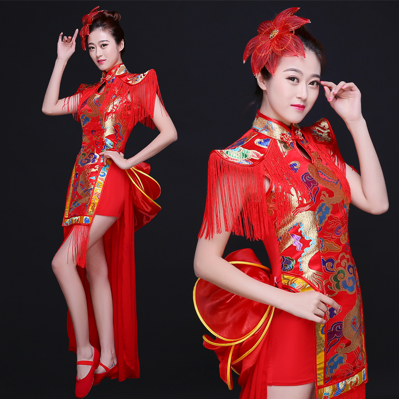 New Cheongsam Dance Costume Fan Dance Chinese Style Modern Classic Costume Female Adult
