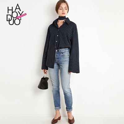 Haoduoyi欧美chic少女ins女生海魂条纹上衣宽松衬衣拼接长袖衬衫