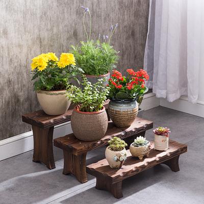 实木阳台肉肉花架阶梯式落地单个木质花凳客厅室内花架子多层特价销量排行