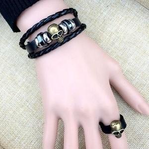 手链男韩版学生个性戒指黑色日韩非主流潮创意皮手饰品僮