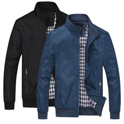 秋冬季男士大码立领商务胖子夹克衫上衣运动休闲加绒加厚宽松外套