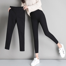 Plush underpants for women wearing 9-point trousers for women Autumn and Winter Thickening Tight Pencil Black Pants 2018 New Style
