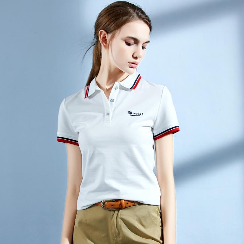 2018夏季新款保罗领短袖女t恤纯色运动上衣宽松有领半袖POLO衫