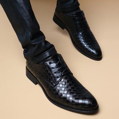 夏季尖头皮鞋男真皮青年韩版英伦休闲正装商务内增高6cm男鞋子