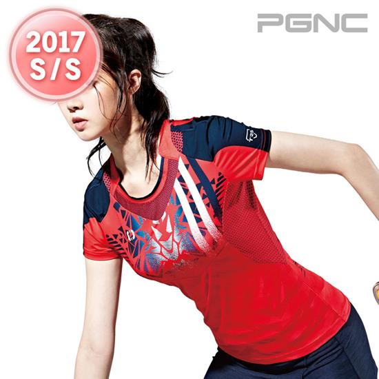 2017春夏新品韩国佩吉酷Peggy女羽毛球服运动服速干吸汗短袖T恤34