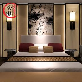 仿古新中式壁灯现代简约酒店中式床头灯复古客厅铁艺过道卧室壁灯