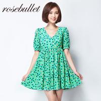 rosebullet甜美可爱苹果印花V领显瘦公主袖高腰蓬蓬裙连衣裙夏女
