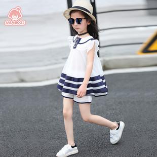 女童夏装套装2017新款韩版大童装春夏季儿童雪纺背心短裤两件套潮