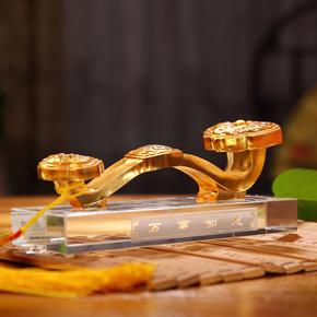 万事如意琉璃摆件工艺品家居客厅酒柜创意装饰品商务办公定制礼品