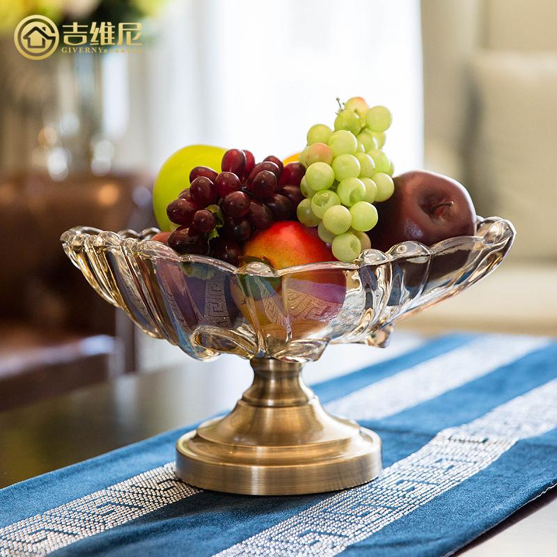 家居软装饰现代客厅摆件工艺品奢华欧式水果盘创意果盘玻璃装饰品