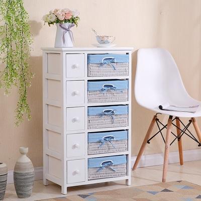 现代简约实木白色藤编床头柜简易抽屉式收纳储物柜卧室田园小柜子