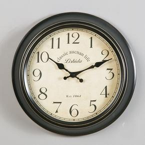 石英钟表美式挂钟客厅圆形静音创意欧式复古个性简约时钟家用大气