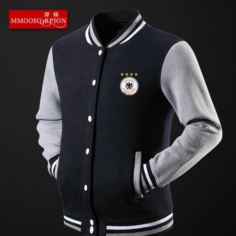 摩蝎 足球德国队标志运动休闲秋冬加绒加厚棒球服男士外套上衣