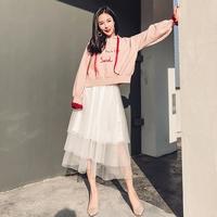 小清新套装女春装时尚潮2018新款甜美卫衣套装裙纱裙子两件套秋冬