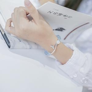 天然冰种海蓝宝手链纯银水晶手串人鱼泡沫送女友生日礼物香蜜同款