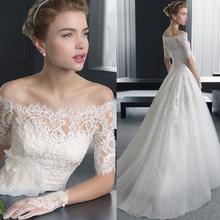 天使嫁衣 冬季新娘大拖尾婚纱礼服批发 法国蕾丝中长袖 优雅气质