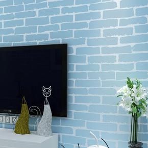 地中海风格蓝色砖纹白砖墙纸3D立体环保无纺布客厅电视背景墙壁纸