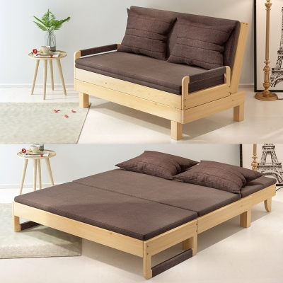 实木沙发床可折叠客厅书房阳台1.2小户型两用床多功能1.5双人1.8品牌排行榜