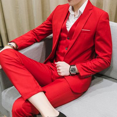 冬季男款大码工作西服套装男士三件套韩版西装男红色新郎伴郎结婚