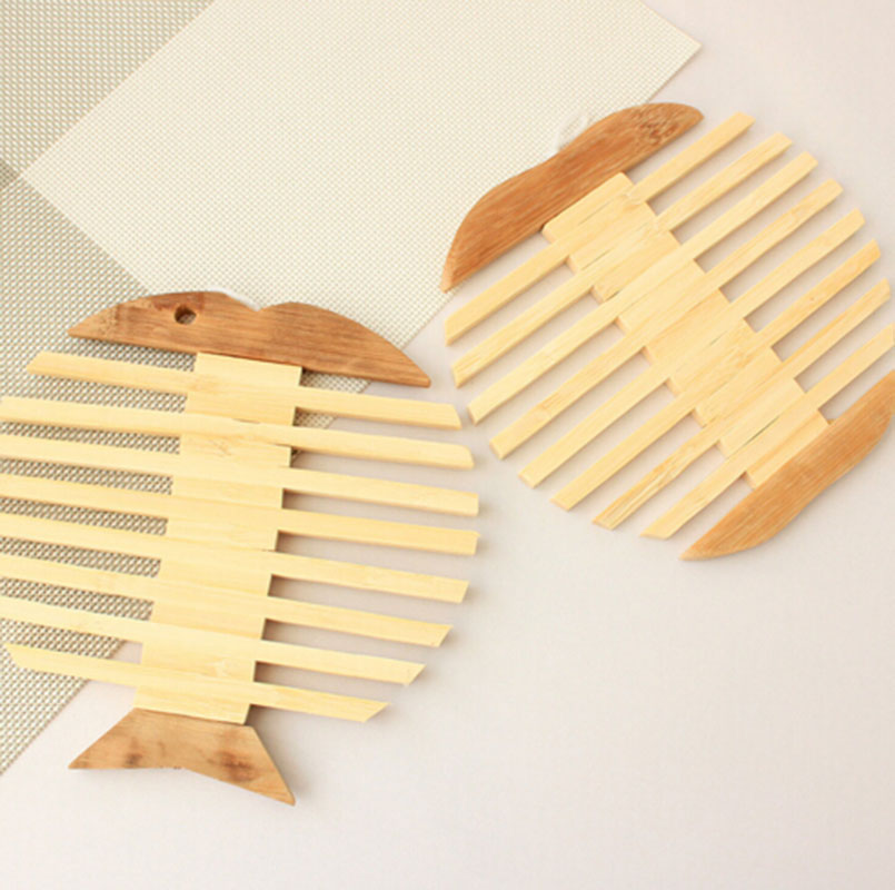 2pcs/set Wood Mats Pads Desktop Bamboo Mat Hot Insulation Fi