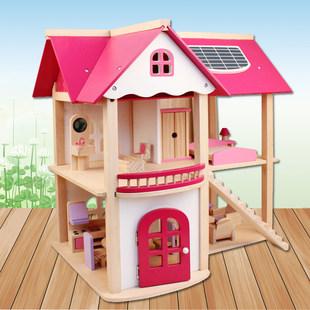 木制diy小屋娃娃房子别墅女儿童过家家玩具3-7岁4-5-6岁生日礼物